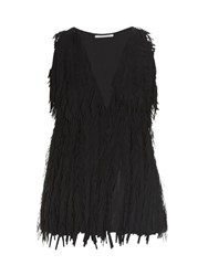 Marco De Vincenzo Laser Cut Fringed Georgette Top Black