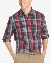 Izod Men's Easy Care Plaid Long Sleeve Shirt Peacoat