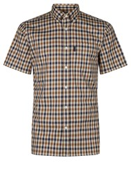 Aquascutum London Emsworth Short Sleeve Club Check Shirt Vicuna