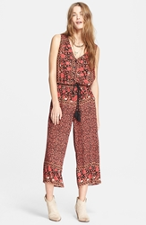 Free People Floral Print Culotte Romper Black Combo