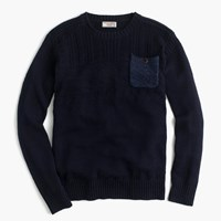 J.Crew Wallace And Barnes Cotton Guernsey Crewneck Pocket Sweater Deep Navy