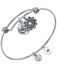 Unwritten Flower Charms And Crystal 8Mm Bangle Bracelet In Stainless Steel