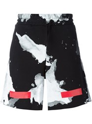 Off White Abstract Print Shorts Black