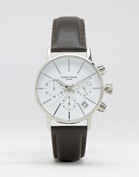 Simon Carter Chronograph Leather Watch With White Dial Black