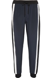 Dkny Striped Stretch Silk Track Pants Blue