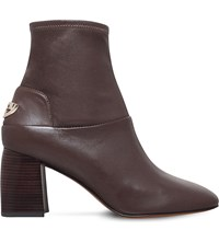 Tory Burch Sidney Mid Heel Leather Ankle Boots Taupe