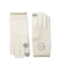 Michael Michael Kors Logo Studded Gloves With Touch Technology Cream Gold Extreme Cold Weather Gloves