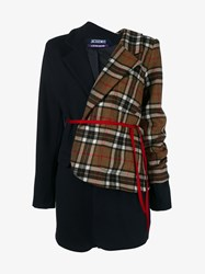 Jacquemus Striped Wool Jacket With Asymmetric Check Layer Navy Brown Red White Black