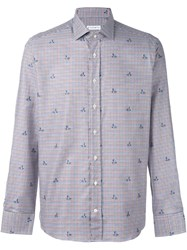 Etro Checked Floral Print Shirt Multicolour