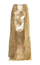 Wanda Nylon Kelly Metallic Skirt Gold
