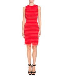 Givenchy Ruffled Tulle Pencil Dress Red