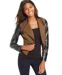 Xoxo Juniors' Colorblock Moto Jacket Olive Black