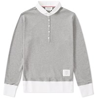 Thom Browne Long Sleeve Classic Pique Polo Grey