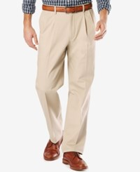 Dockers Men's Signature Relaxed Fit Khaki Pleated Stretch Pants Dockers Navy