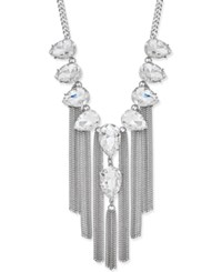 Thalia Sodi Silver Tone Crystal Fringe Statement Necklace Only At Macy's