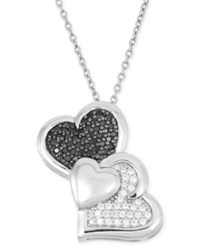 Wrapped In Love Black And White Diamond Heart Pendant Necklace 1 3 Ct. T.W. In Sterling Silver