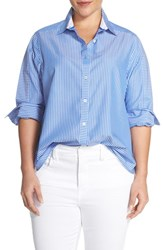 Plus Size Women's Foxcroft Stripe Non Iron Cotton Shirt
