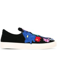 Ports 1961 Floral Embroidered Sneakers Black