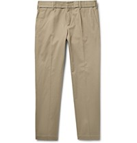 Dolce And Gabbana Slim Fit Stretch Cotton Twill Trousers Mushroom