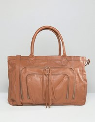 Pieces Leather Travel Bag Mocca Brown
