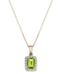 Macy's Peridot 1 Ct. T.W. And Diamond 1 5 Ct. T.W. Emerald Cut Pendant Necklace In 14K Gold