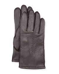 Ugg Three Point Stitch Leather Gloves Brown