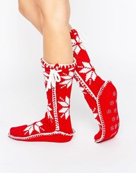 Loungeable Red Nordic Knit Christmas Sock Red