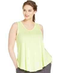 Calvin Klein Performance Plus Size Relaxed Fit V Neck Tank Top Flashlight
