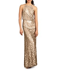Donna Morgan Tiffany Embellished Halterneck Dress Toffee