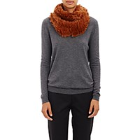 Barneys New York Women's Knitted Fur Cowl Scarf Brown