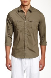 James Perse Fitted Long Sleeve Safari Shirt Green