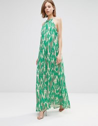 Adelyn Rae Crackle Print Halter Maxi Dress Green White