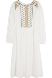 Paul And Joe Roseraie Embroidered Beaded Muslin Midi Dress