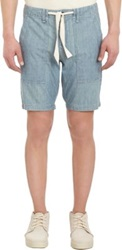 Rag And Bone Bleached Chambray Drawstring Shorts Blue