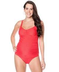 Motherhood Maternity Polka Dot Racerback One Piece Swimsuit Red