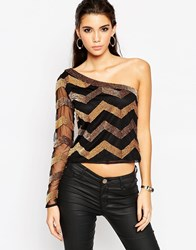 Asos Night Top With One Shoulder In Stripe Sequin Black