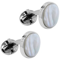 Mulberry Semi Precious Round Cufflinks Mother Of Pearl