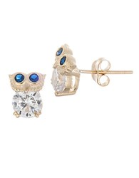 Lord And Taylor Sterling Silver Owl Stud Earrings Gold