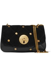 See By Chloe Lois Large Quilted Suede And Leather Shoulder Bag Black