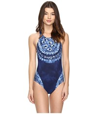 Lablanca Moody Blues Hi Neck Strappy One Piece Midnight Women's Swimsuits One Piece Navy