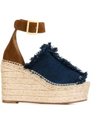 Chloa Denim Wedge Sandals Blue