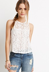 Forever 21 Crochet Paneled Lace Top Cream