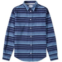 Norse Projects Osvald Brushed Stripe Shirt Blue