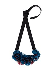 P.A.R.O.S.H. Floral Ribbon Necklace Blue