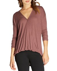 Bobeau Surplice V Neck Long Sleeve Top Burgundy