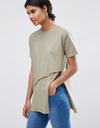 Asos Top With Raw Asymmetric Hem Olive Green