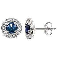 Thomas Sabo Light Of Luna Round Stud Earrings Silver Blue
