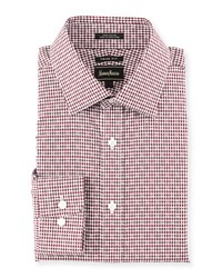 Neiman Marcus Trim Fit Mini Check Dress Shirt Red