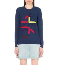 Kenzo Patch Applique Wool Jumper Peacock