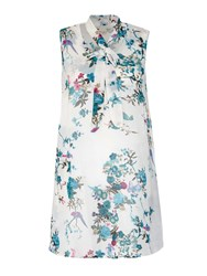 Yumi Sleeveless Floral Print Tunic White